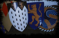 Various painted shields